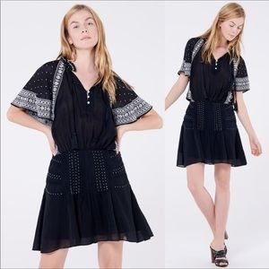 NWT Veronica Beard Black Minos Embroidered Dress